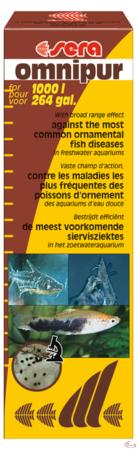 Sera omnipur est un produit de traitement à champ d'action étendu pour les poissons d'aquarium